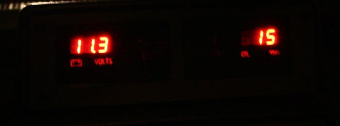Digital gauges in the car at night